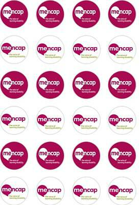 24 x PRECUT MENCAP SOCIETY SUPPORT/CHARITY RICE/WAFER PAPER CUP CAKE TOPPERS