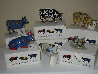 Cow Parade 6 Figurines 6 Party Cow iMoo Leopard MooShoe Hug Smooche Even Cowgirl