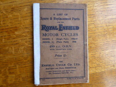 Royal Enfield . List of Spare and Replacement Parts. Model J and J2