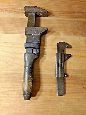 Vintage Lot Of 2 Adjustable Monkey Wrenches 5.5 In., 10 In. Metal / Wood Tools