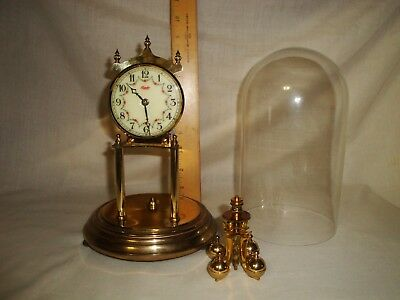 Vintage Kieninger & Obergfell Kundo 400 day Anniversary clock with glass dome