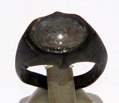 Beautiful Byzantine Or Post-Medieval Bronze Ring With Stone On The Top # 31C