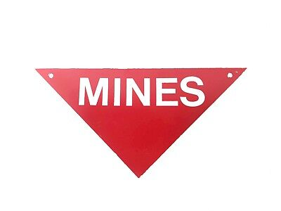 "Aluminum Military warning Sign, ""MINES"""