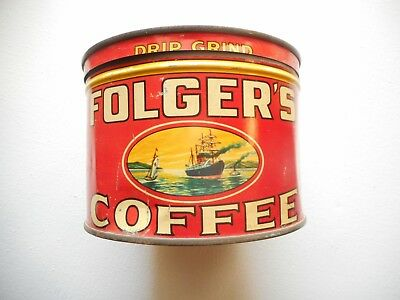 VINTAGE 1930's FOLGERS COFFEE CAN Golden Gate Brand KEY WIND, NO KEY, DRIP GRIND