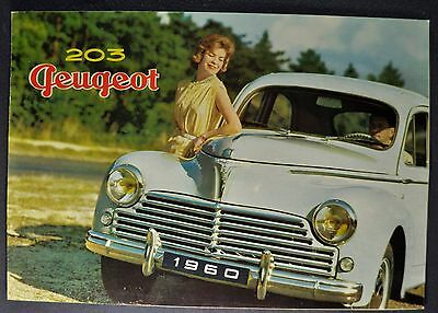 1960 Peugeot 203 Sales Brochure Folder French Text Excellent Original 60