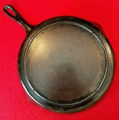 "Old Antique Vintage Unmarked 10 1/2"" Cast Iron #8, Skillet/ Frying Pan. Flat."