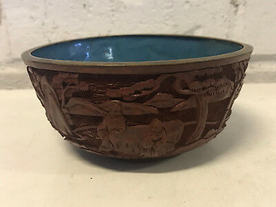 Antique Chinese Cinnabar Red Lacquer Bowl w/ Figures / Possibly Immortals