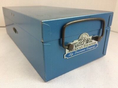 Sesamee Policy Box Bemis & Call company vintage blue safety lockbox combination