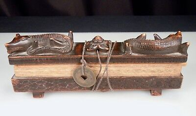 Antique Indonesian Lontar Manuscript - Carved Wood Holder