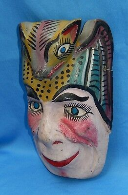 """Vintage Mexican Hand Carved & Painted Folk Art """"Bat Man"""" Wall Mask"""