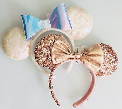 Disney Parks Iridescent Bow White Sequin & Rose Gold Minnie Ears Headband Set