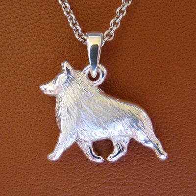 Small Sterling Silver Schipperke Moving Study Pendant