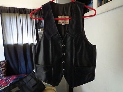 New Fashions By Espinoza's Womens Genuine Leather Snap Up Vest Small