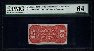 Third 3rd Issue 15 Cents PMG 64 Fr.1273-5spnmb Red Back Specimen
