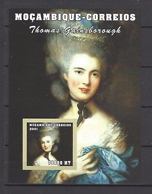 Mozambique 2001 Sc#1500 Portrait of Lady in a Blue Dress-Thomas Gainsborough MNH