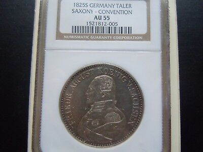 Germany-Saxony-Convention Scarce Thaler 1825 S Ngc Au55.very Nice Very Collectib
