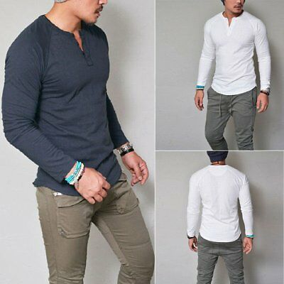 Mens Slim Fit V Neck Plain Long Sleeve Muscle Tee T-shirt Casual Tops Blouse
