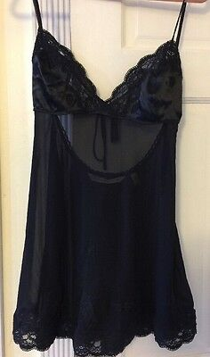 NWOT Victoria's Secret Black Sexy Babydoll Nightie Lace Size Small