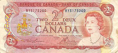 Canada  $2  1974  Series RY Que. II  Circulated Banknote