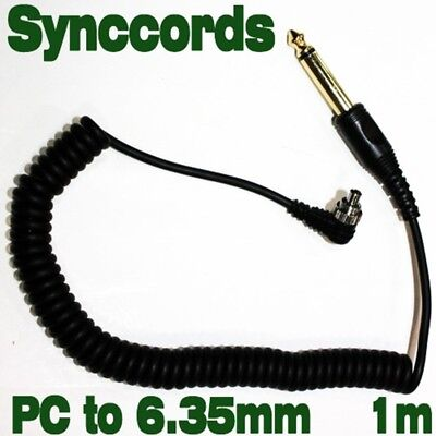 6.35mm to Male FLASH PC Sync Cable Cord with Screw Lock 1m