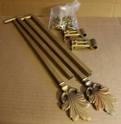 Vintage Art Deco Swing Arm Expandable Curtain Rods With Mounts And Rings L6