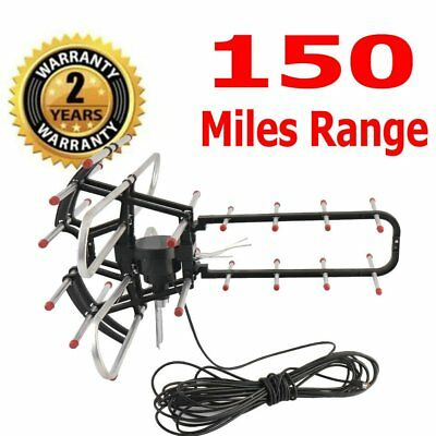 150 Miles Outdoor HDTV 1080P TV Antenna Amplified Motorized HD 36dB UHF VHF FM@