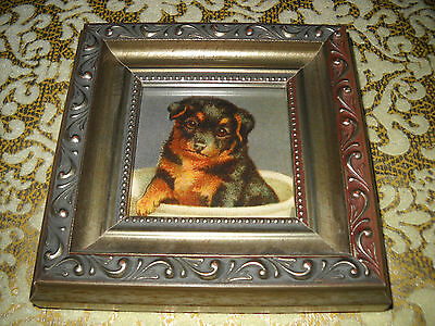 TEACUP DOG 5 X 5 SMALL silver WOOD framed picture Victorian style animal art