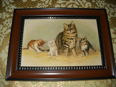 MOTHER CAT 3 KITTENS 4 X 6 brown framed picture Victorian style animal art print
