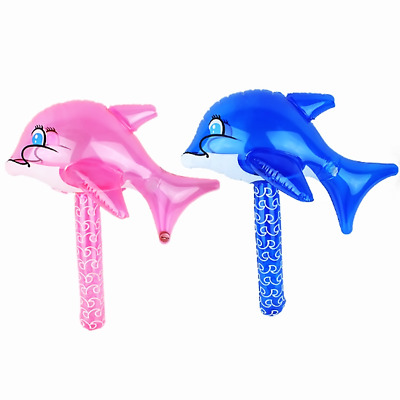 Baby Inflatable Dolphin Hammer Bath Toys Rattles Shower Water Swimming Beach New