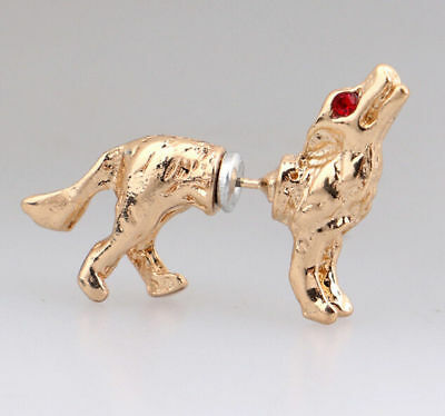 Pair Gold Howling Wolf Earrings Werewolf Red Rhinestone Eyes Dog Unique Jewelry