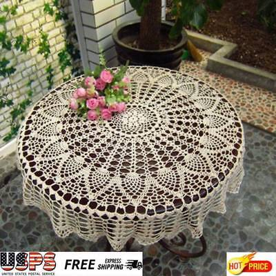 80cm Round White Hand Crochet Hollow Table Cloth Runner Topper Pineapple Floral