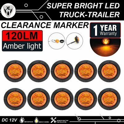 """10X Amber 6LED 1-1/4"""" Round Lights Side Marker Trailer Boat Tow Bus Clearance US"""