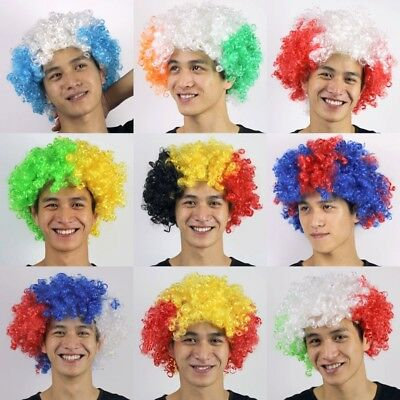 Football Fan Womens Mens Kids Fans Clown Hair Cheerleading Wigs 2018 World Cup
