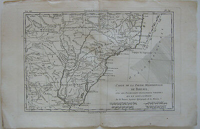 Brasil Partie Meridionale Orig Copperplate map R. Bonne 1780 Brasilien