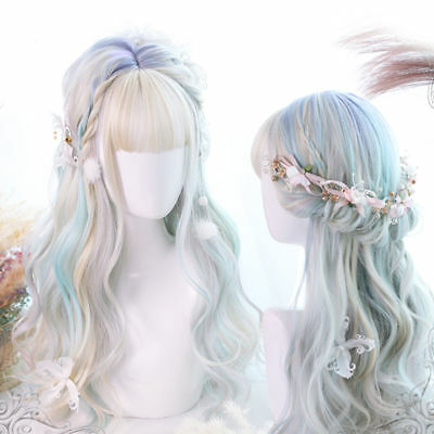 Lolita Daily Cute Multi-Color Long Curly Bangs Party Japan Hair Cosplay Wig+Cap