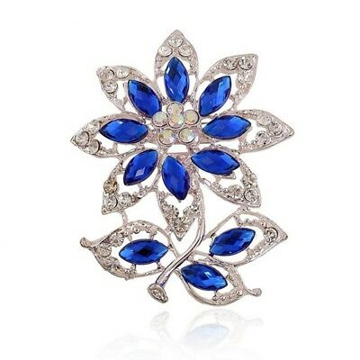 1X Fashion Elegant Diamond Covered Clip For women's Ladies Jewelry(Blue) G2Z3