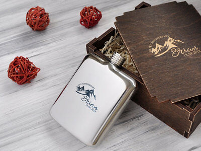 21st Birthday Gift for Men Engraved Hip Flask Personalized Anniversary Gift 6oz