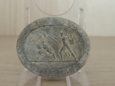 Antique Light Stone Medallion With Warriors,cylinder Seals