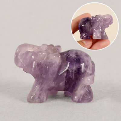 Lucky Purple Elephant Figurine Jade Carved Home Decor Feng Shui Ornament