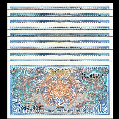 Lot 10 PCS, Bhutan 1 Ngultrum, 1986, P-12, UNC