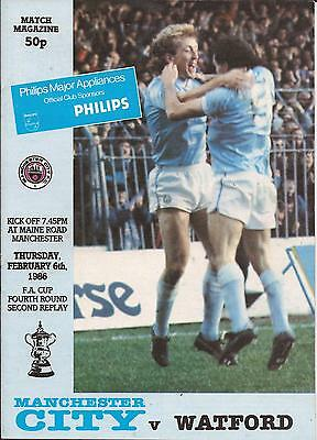 Football Programme - Manchester City v Watford - FA Cup 2nd Replay - 6/2/1986