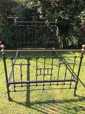 Original Antique Victorian heavy cast iron & brass double bed