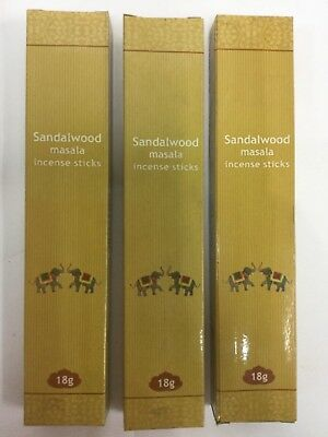 3 x SANDALWOOD MASALA Incense Sticks Bulk Value Pack 54g (total 30 sticks)