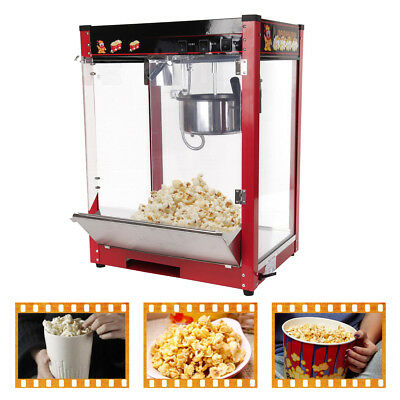 8oz 1370W Luxury Red Bar Tempered Glass Panels Top Popcorn Popper Maker Machine