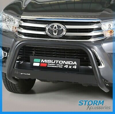 Toyota Hilux Mk8 2016 On Misutonida Eu Approved Front A-Bar In Black - 63Mm