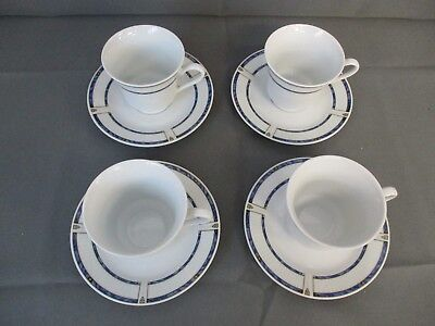 4 Vintage / Art Deco Style Fine Master Porcelain Teacups and Saucers