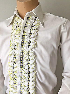 After Six White RUFFLED Vintage Tuxedo SHIRT Formal Evening 40in X 15in Small UK