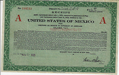 MEXICO 1925 United States of Mexico Receipt Stock Certificate Railroad