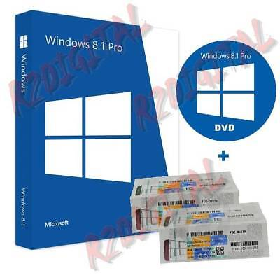 Windows 8.1 Pro Dvd + Coa Attivazione Sticker Software Microsoft Originale Mac