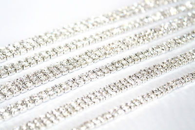 1M x SS12 Rhinestone Diamante Chain Trim Crystal Silver Decoration Crafts DIY UK